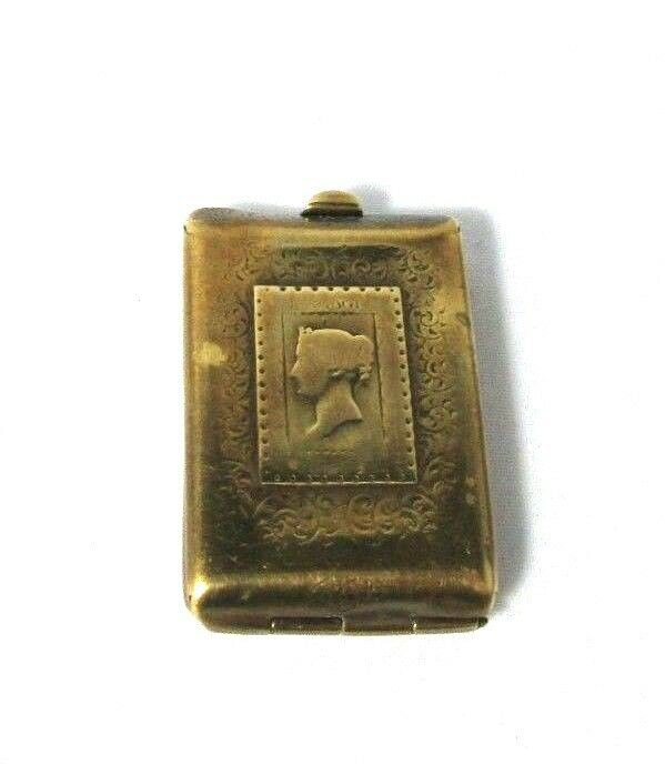 W. Avery & Son Brass Penny Stamp Needle Case  Rare Antique Original C1876