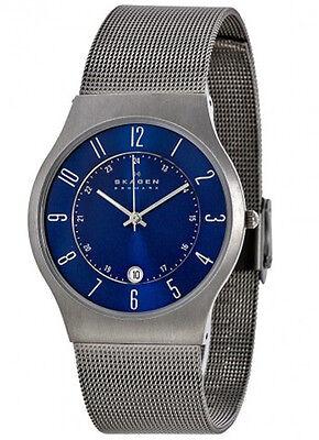 Skagen Mens Titanium Watch - Skagen Men's Grenen Titanium Case Stainless Steel Mesh Watch 233XLTTN