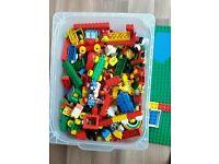 Big box of duplo Lego and figures