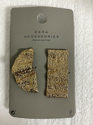 Zara Accessories Collection clip-on Textured Earrings Gold - Brand New