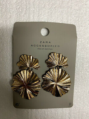 Zara Accessories Collection clip-on earrings gold - Brand New