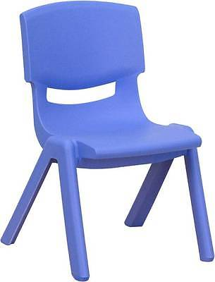 Blue Plastic Stackable School Chair With 13.25 Seat Height