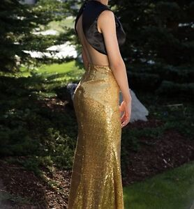 Black and Gold Two-Piece Prom Dress London Ontario image 1