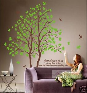 Large-size-Green-Lover-AB-Twins-Tree-Room-Decal-Wall-Sticker-Decor-Art-Mural-NEW