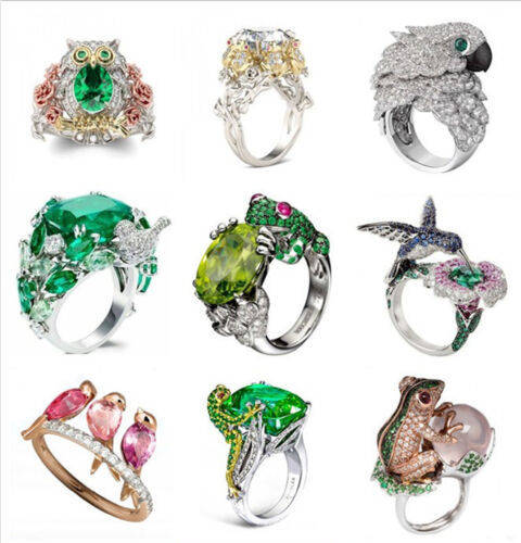 Ring - 925 Silver Animal Emerald White Topaz Woman Men Wedding Bridal Ring Size 6-10