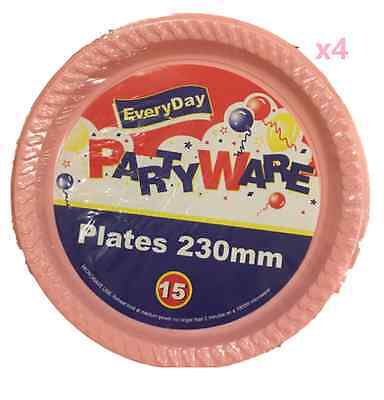 60x Plastic Round Dinner Plates 230mm Disposable Plate Baby Girl Party Pink - Bulk Dinner Plates