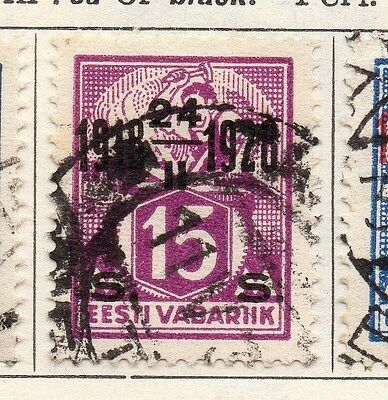 Estonia 1928 Early Issue Fine Used 5s. Optd 087893
