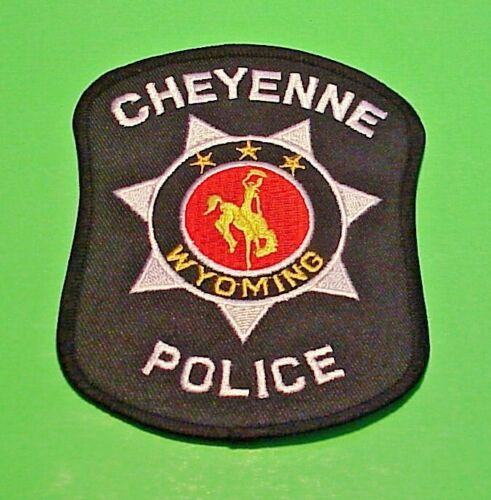 """CHEYENNE WYOMING  WY  ( BLACK BORDER / SILVER LETTERS )  4 1/2"""" POLICE PATCH"""