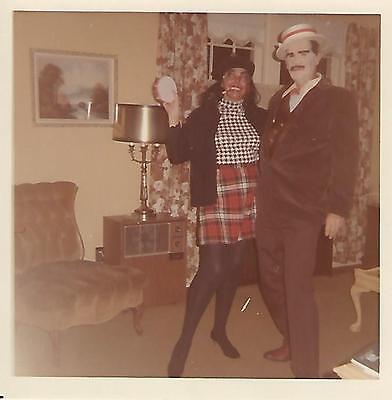 Snapshot photo: Couple in Halloween costumes dated 1961](Couple In Halloween Costumes)