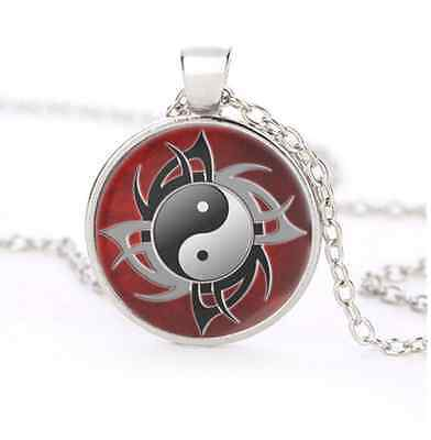 Red Ying and Yang Glass Dome Silver Necklace for men woman Jewelry#B34