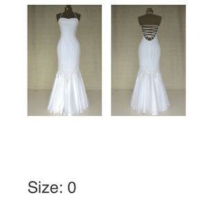 White lace up halter long dress