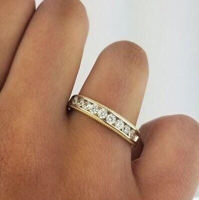 14k Yellow Gold Two Tone Mens Wedding Band Ring Milgrain 1 CT Diamond -