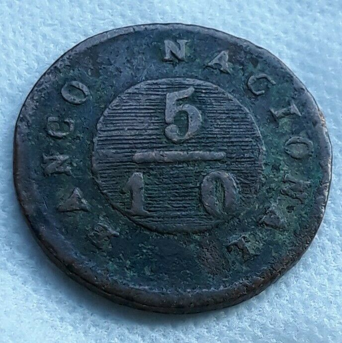 1830 Argentina Buenos Aires 5/10 Real KM# 3 Copper Coin