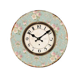 Clock French Country Vintage Wall BLUE FLORAL 2 Clocks Time 34cm New