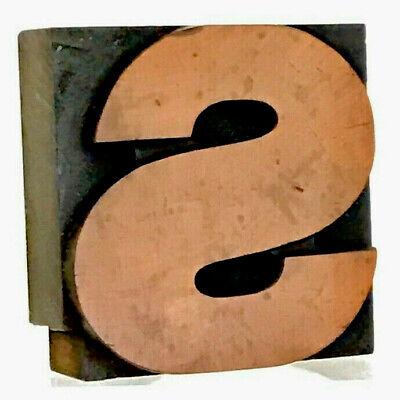 Letter S Vtg Wood Letterpress Print Type Printers Block Cut 2.5 2-12