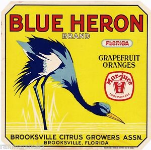 Brooksville-Florida-Blue-Heron-Bird-2-Orange-Citrus-Fruit-Crate-Label-Art-Print