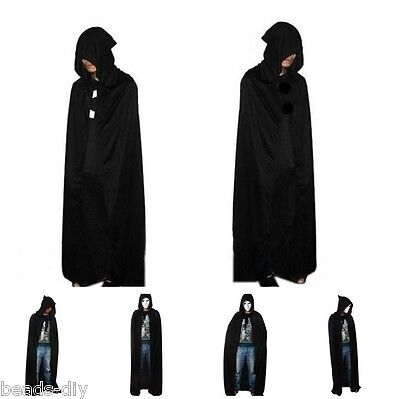 US Unisex Men Women Hooded Cape Long Cloak Black Halloween Costume Dress Coat DS