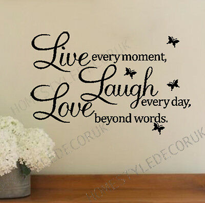 LIVE LAUGH LOVE Wall Quote Butterfly Stickers Home Art Decal Vinyl Removable UK