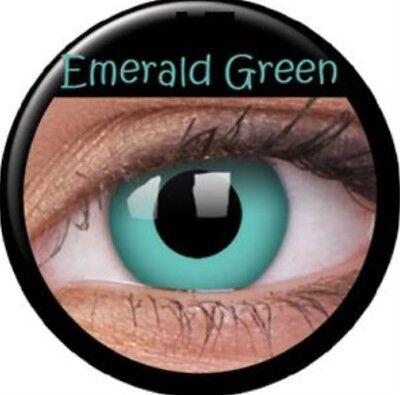 Crazy Contact Lens Lentilles Kontaktlinsen Emerald Green Grun Dwarf Halloween UK ()