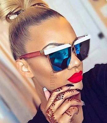 XXL Extra Large Metal Frame Flat Flash Mirror Cat Eye Celebrity Sunglasses (Cheap Celebrity Sunglasses)