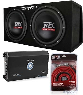 "MTX TNE212DV 12"" 2000W Car Audio Subwoofers + Car Amp + Premium Amp Kit Package"