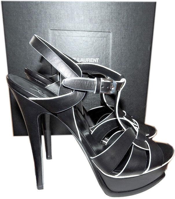 Ysl Saint Laurent Black White Trim Tribute TStrap Sandals Pumps Shoes 395