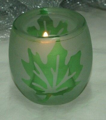 (1-Votive/Tealight Holder~Frosted Glass With Green Leaf~Very Heavy & Thick~Nice)