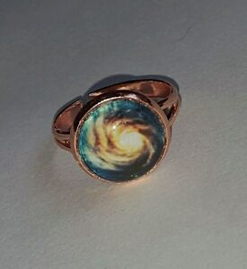 USA Made! Galaxy Nebula Celestial Rose Gold Plate Adjustable Ring, Knuckle Ring