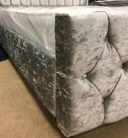 Crushed velvet diamanté grey double