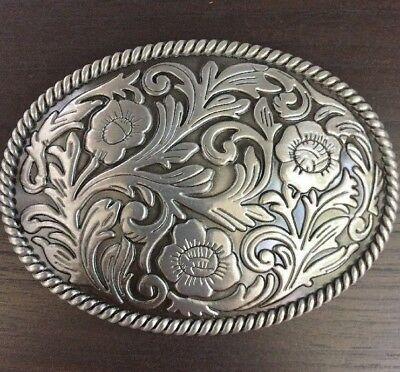 Floral Patent Belt - Western Plain Floral Scrollwork Rodeo Oval Belt Buckle Cowboy Rodeo