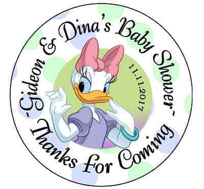 DAISY DUCK BABY SHOWER PERSONALIZED ROUND PARTY STICKERS FAVORS VARIOUS SIZES - Daisy Duck Party Supplies