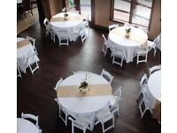 7 Wedding white round tablecloths 10ft / 120inch