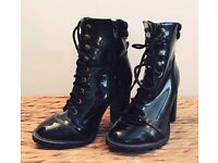 Black heeled boots size 5
