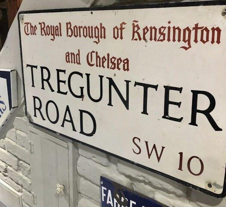 Original London Street Sign - Tregunter Road SW10 - Kensington & Chelsea