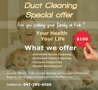 DUCTS CLEANING---UNBEATABLE PRICES---$99.99 WITH UNLIMITED VENTS