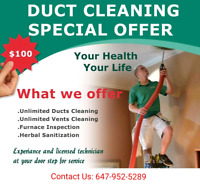BEST DUCT CLEANING ONLY $100 WITH UNLIMITED HOT & COLD VENTS