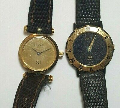 LOT 2 GUCCI WATCH Ladies 2000 Stacked 3200L GOLD PVD VTG PARTS Repair FIX 1980s