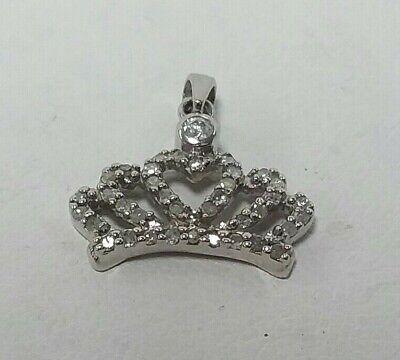 10K Diamond Encrusted Crown Pendant In White Gold 10k White Gold Crown