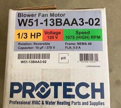 Hvac Blower Fan Motor 13 Hp 120 Volts 1075 High Rpm
