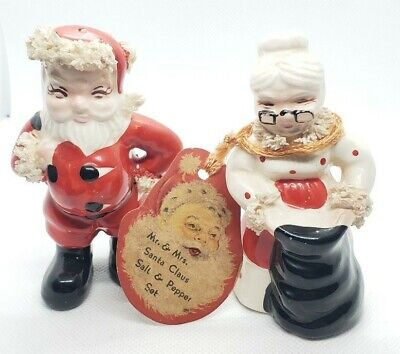 Vintage Kreiss Mr And Mrs Claus Salt And Pepper Shakers 1956 Mrs Claus Salt