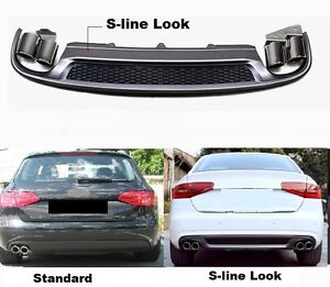 Fuer-Audi-A4-B8-8K-RS4-S-Line-S4-Look-Heckstossstane-Spoiler-Diffusor-Endrohre-27