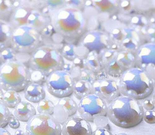 800 pieces AB White Mix Sizes flat back resin Pearl Cabochons