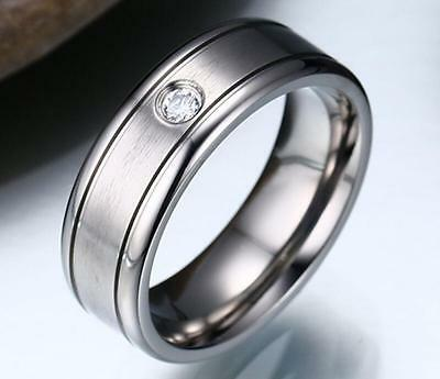 Men's Titanium Silver Satin Finish Center CZ Comfort Fit Wedding Ring & Band - Satin Finish Titanium Ring
