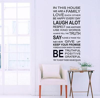 Home Decoration - In This House Quotes Wall Art Stickers Home Decor  Wall Stickers