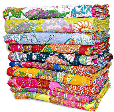SET OF 5 Kantha Quilts Kantha Bed covers Hand Quilted Kantha Throws  Diwali SALE