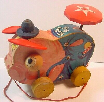 Fisher Price Pull Toy-Pinky Pig No. 695