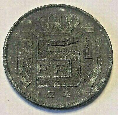 5 Francs, 5 Frank, 1941, ZF, Zinc, KM:129.1 Belgique Belgïe FRANS
