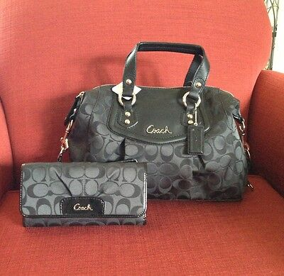 Coach 19242 Ashley Signature Satchel HandBag Purse Black NWT $298 on Rummage