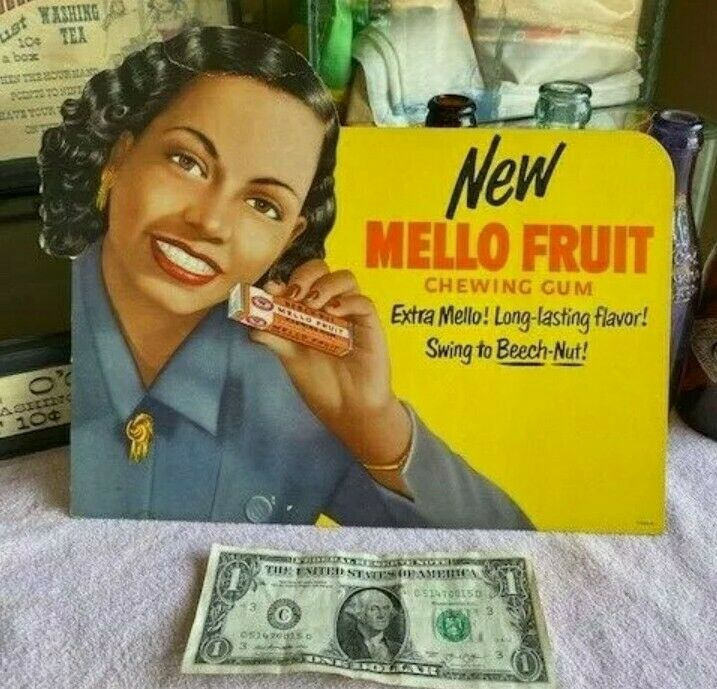 Vintage Beech-Nut Chewing Gum Cardboard Sign Display Black Americana Mello