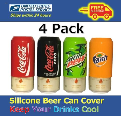 4 Pack Beer Can Covers,Silicone Sleeve Hide a Beer Coke,Zero,MtnDew,Fanta & More